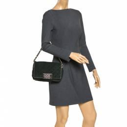 Carolina Herrera Deep Green Quilted Suede Shoulder Bag