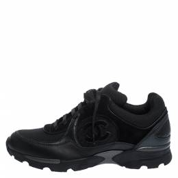 Chanel Black Leather and Suede CC Lace Up Sneakers Size 40.5