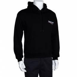 Balenciaga Black Cotton Logo Detail Hooded Sweatshirt S