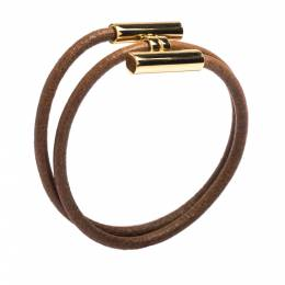 Hermes Tournis Tresse Brown Leather Gold Plated Wrap Bracelet