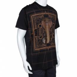 Givenchy Black Cotton Cobra Print Round Neck T Shirt XS 281340