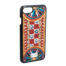 Dolce&Gabbana Multicolor Printed Leather iPhone 7 Case 282055
