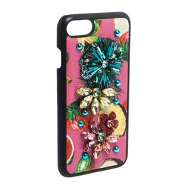 Dolce&Gabbana Multicolor Fruit Print Leather Crystal Embellished iPhone 7 Case 282059