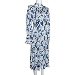 Fendi Blue Floral Printed Silk Cutout Detail Midi Dress M 280755