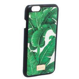 Dolce&Gabbana Green/White Banana Leaf Print Leather iPhone 6 Case 282065
