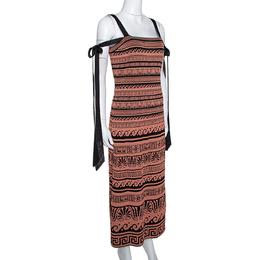Chanel Terracotta & Black Knit Antique Grecian Print Maxi Dress M