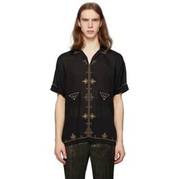 Saint Laurent Black Satin Short Sleeve Shirt 601068Y532U