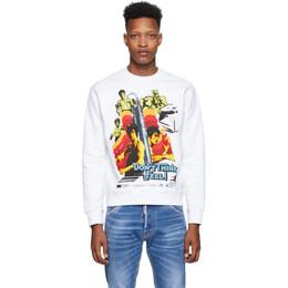 Dsquared2 White Bruce Lee Printed Cool Fit Sweatshirt S71GU0362 S25042