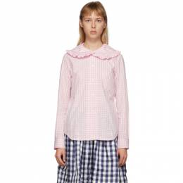 Comme Des Garcons Girl Pink and White Check Peter Pan Collar Blouse NE-B012-051