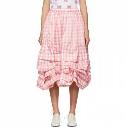 Comme Des Garcons Girl Pink and White Check Gathered Skirt NE-S004-051