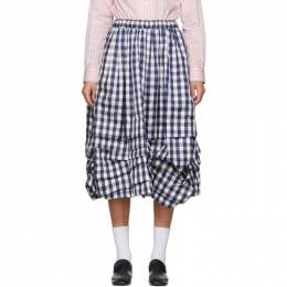 Comme Des Garcons Girl Navy and White Check Gathered Skirt NE-S004-051