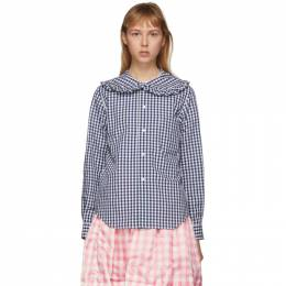 Comme Des Garcons Girl Navy and White Check Peter Pan Collar Blouse NE-B012-051