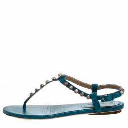 Balenciaga Blue Studded Leather Arena Thong Sandals Size 39