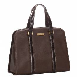Burberry Brown Leather Satchel Bag