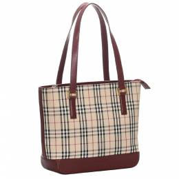 Burberry Brown/Beige House Check Canvas Tote Bag