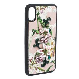 Dolce&Gabbana Multicolor Floral Print Leather Embellished iPhone X Case 282063