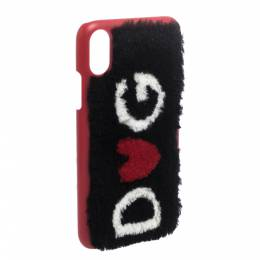 Dolce&Gabbana Red/Black Sherling Logo iPhone X Case 282119