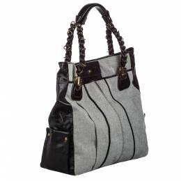 Chloe Grey/Dark Brown Canvas Heloise Shoulder Bag