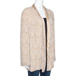Max Mara Beige Silk Bead Embellished Jacket M
