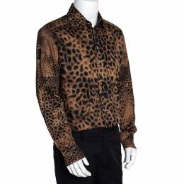 Roberto Cavalli Class Brown Cotton Animal Print Shirt L 280883