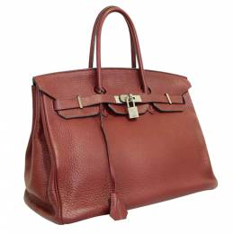Hermes Burgundy Clemence Leather Gold Hardware Birkin 35 Bag