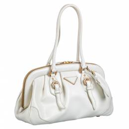 Prada White Calfskin Leather Cinghiale Frame Shoulder Bag 281540
