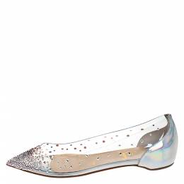 Christian Louboutin Metallic Silver Leather And PVC Degrastrass Pointed Toe Ballet Flats Size 36 282144