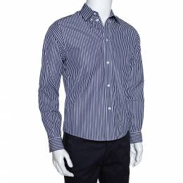 Balenciaga Navy Blue Logo Print Striped Cotton Shrunken Shirt M