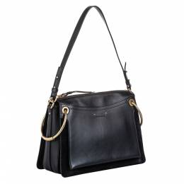 Chloe Black Calfskin Leather Medium Roy Shoulder Bag