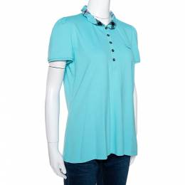 Burberry Brit Teal Blue Cotton Pique Ruffle Collar Polo T Shirt XL 281379