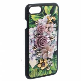 Dolce&Gabbana Multicolor Floral Embellished Leather iPhone 7 Case 282046