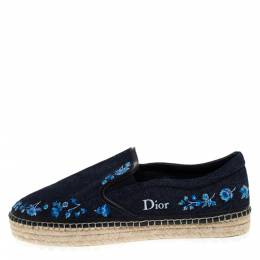 Dior Blue Floral Embroidery Denim Prairie Espadrille Loafers Size 42
