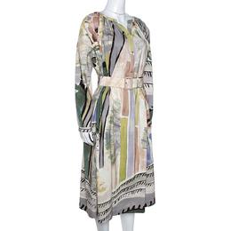 Burberry Prorsum Linen & Silk Blend Abstract Print Belted Midi Dress M 280824