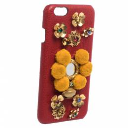 Dolce&Gabbana Red/Mustard Embellished Leather iPhone 6 Case 282051