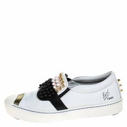 Fendi White/Black Leather Studded Karlito Slip On Sneakers Size 41 282089