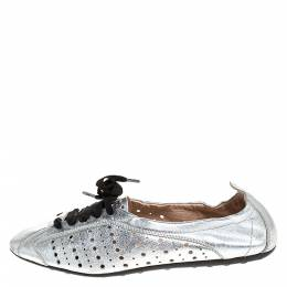 Tod's Metallic Silver Perforated Leather Lace Up Scrunch Low Top Sneakers Size 39 282095