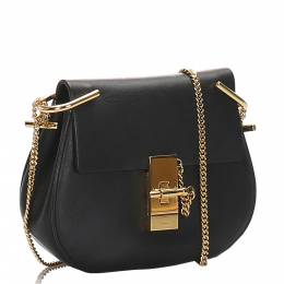 Chloe Black Calfskin Leather Medium Drew Crossbody Bag