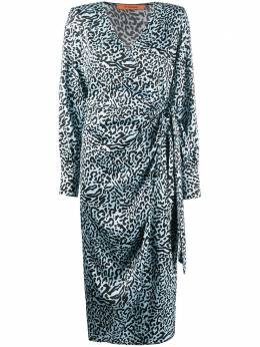 Andamane атласное платье Leonado с запахом и леопардовым принтом Q02A053