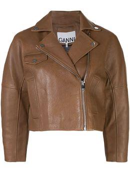 Ganni укороченная байкерская куртка F4477