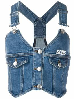 GCDS buttoned denim top SS20W020059