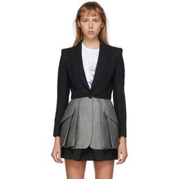 Alexander McQueen Black and Grey Colorblock Blazer 621360QJABD