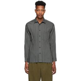 Issey Miyake Men Grey Wrinkle Shirt ME06FJ026