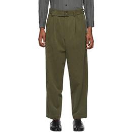 Issey Miyake Men Khaki Mercerized Gabardine Trousers ME06FF114