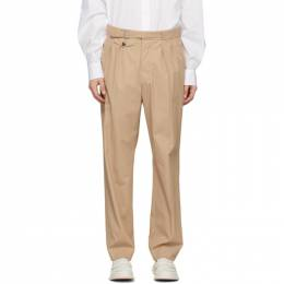 Maison Margiela Tan Cotton Pleated Trousers S29KA0343 S49914