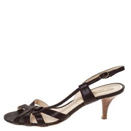 Celine Brown Leather Open Toe Slingback Sandals Size 38.5 282254