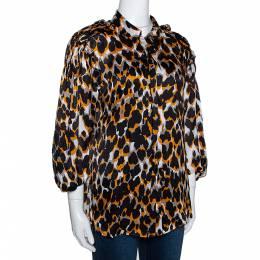 Roberto Cavalli Tricolor Silk Animal Print Ruched Sleeve Blouse M 281492