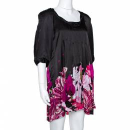 Roberto Cavalli Black & Fuschia Floral Printed Silk Pleated Mini Dress M 281493