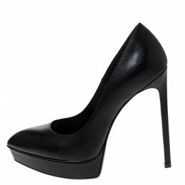 Saint Laurent Black Leather Janis Platform Pumps Size 36