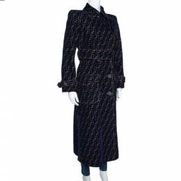 Fendi Blue Zucca Flock Printed Denim Belted Trench Coat S