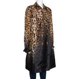 Roberto Cavalli Beige & Black Ombre Leopard Printed Silk Trench Coat L
